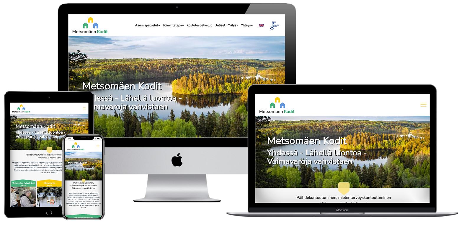 Metsomäen Kodit - Verkkosivu kuvattu eri laitteilla