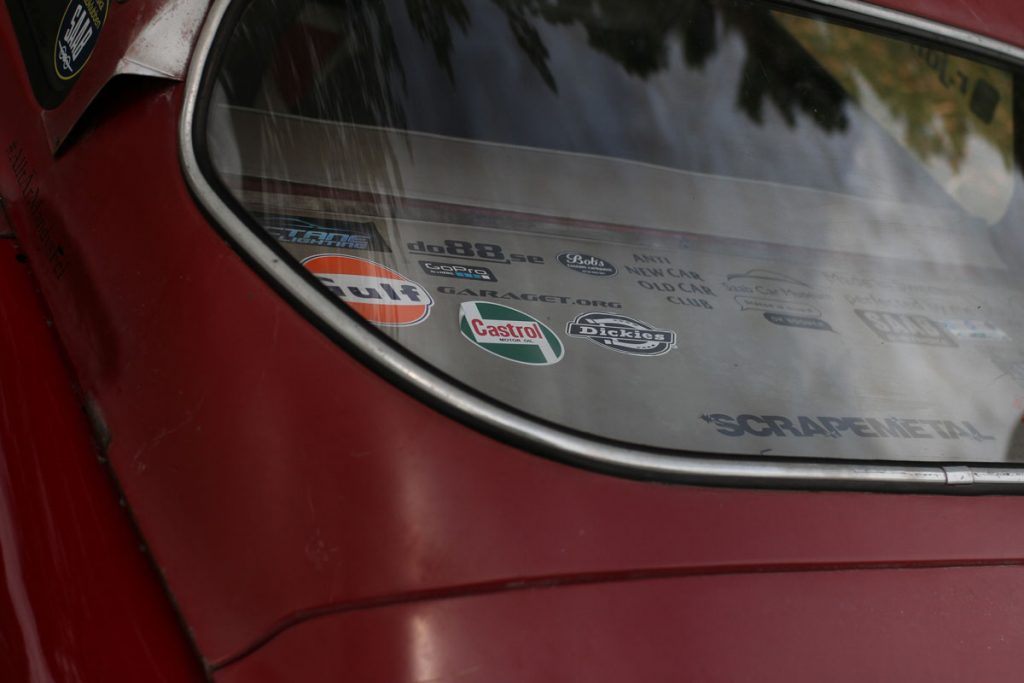 saab 96 stickers in the back