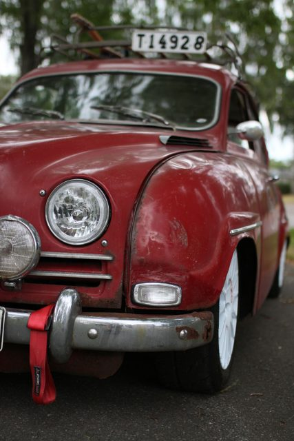 saab 96 front with old plate