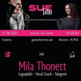 """Nicht mehr lange bis zu unserer Premiere """"Sue Talks"""".   Mein erster Gast ist Mila Thonett : Logopädin und Stimmtherapeutin  IHR könnt eure Fragen stellen 👋  Schon jetzt könnt ihr in den Kommentaren eure Fragen hinterlassen 👌  Karten sichern und """"mittalken"""" unter www.guma-artists.de #speechtherapy #logo #stimmtherapie #voicecoach #vocal #vocalcoach #talk #thonett #stimme #mila #logopädie  #music #singer #musiciansofinstagram #musikimsaarland #saarland"""