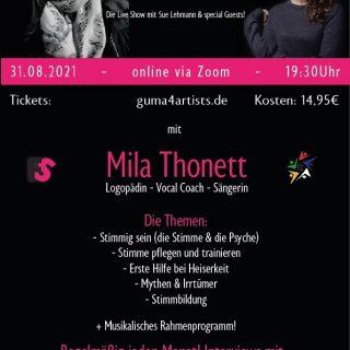 """Nicht mehr lange bis zu unserer Premiere """"Sue Talks"""". Mein erster Gast ist Mila Thonett : Logopädin und Stimmtherapeutin Karten sichern und """"mittalken"""" unter www.guma-artists.de #talk #stimme #mila #logopädie"""
