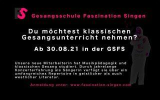 Nach den Ferien Unterricht in klassischem Gesang🎼🎼🎼kostenlose Probestunde jetzt buchen unter www.Faszination-Singen.com