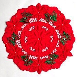 Ronde sierlap met kerstroosmotief (diameter 25 cm)