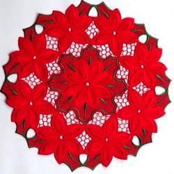 Ronde sierlap met kerstroosmotief (diameter 30 cm)