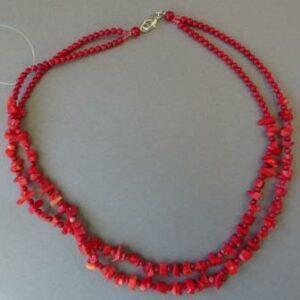 Halsketting rood bamboekoraal