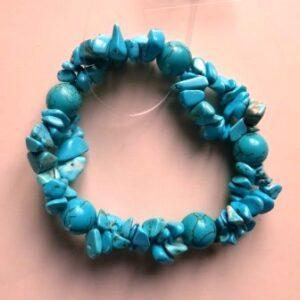 Armband Turquoise kralen en splitkralen.