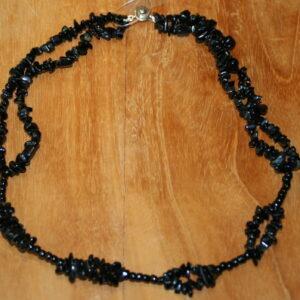 Halssnoer zwart agaat