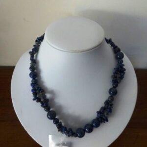 Halssnoer Lapis Lazuli  splitparels en ronde parels