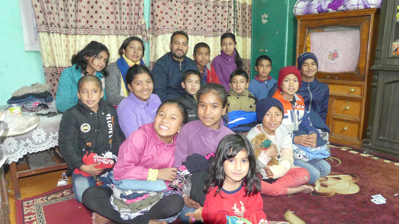 Barna på Sharadas Shelter i 2019