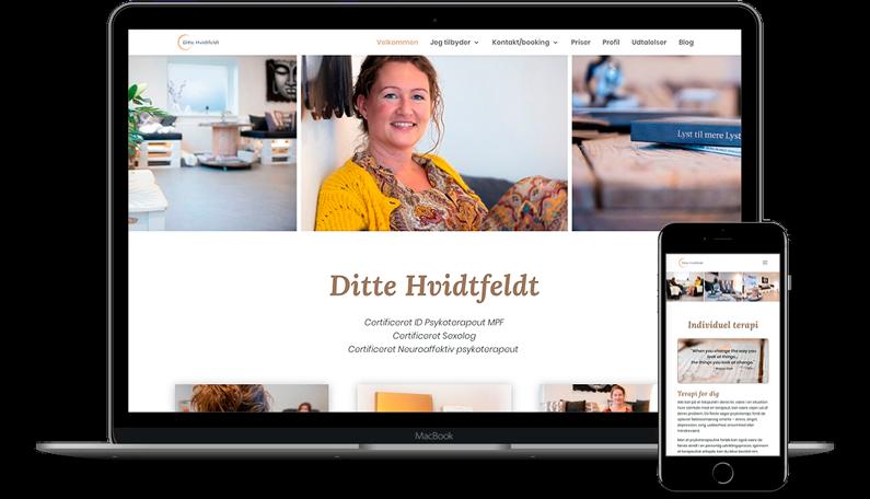 Hjemmeside med Divi tema til Ditte Hvidtfeldt