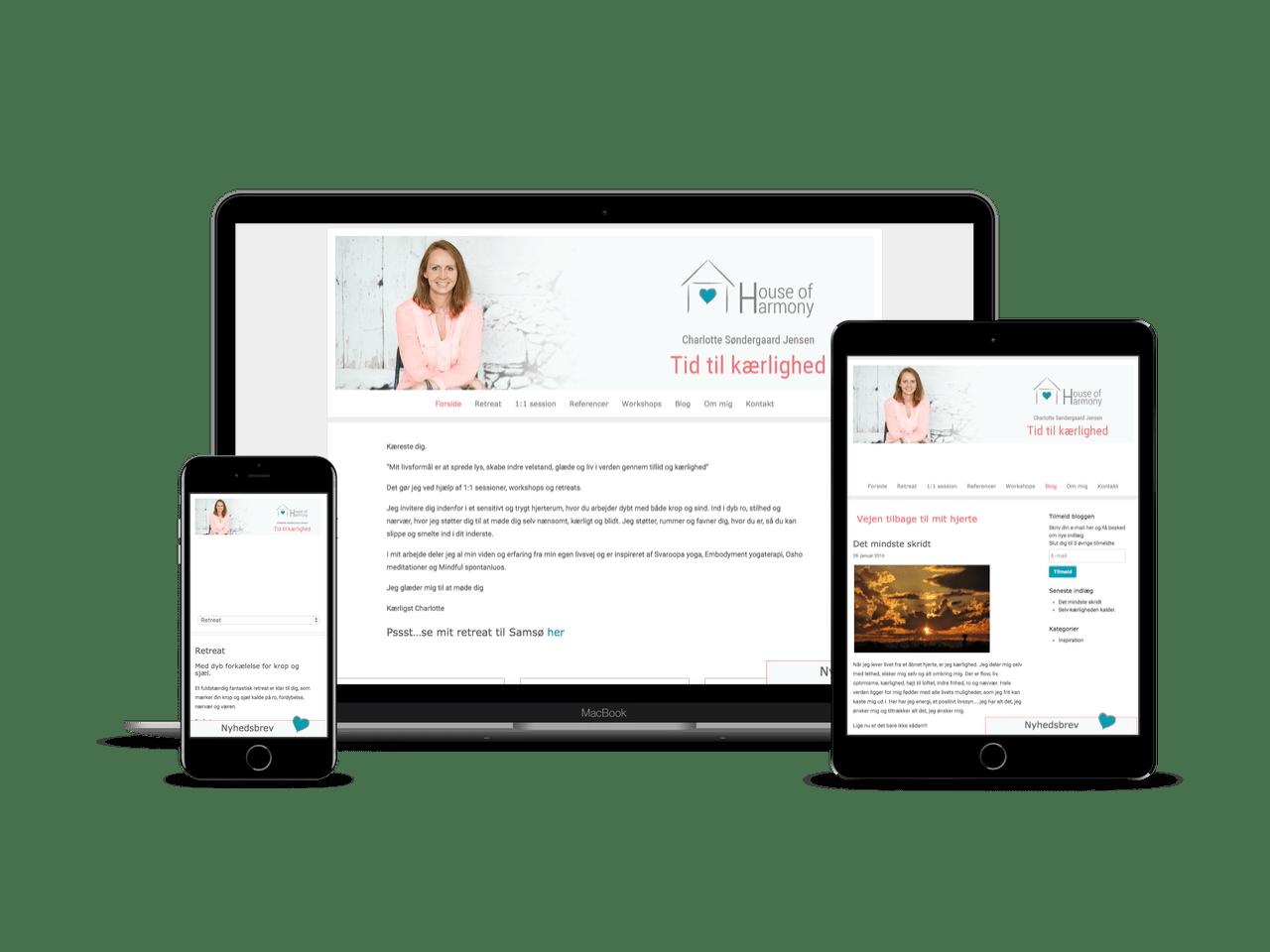 WordPress hjemmeside med personligt Divi Child Theme til House of Harmony