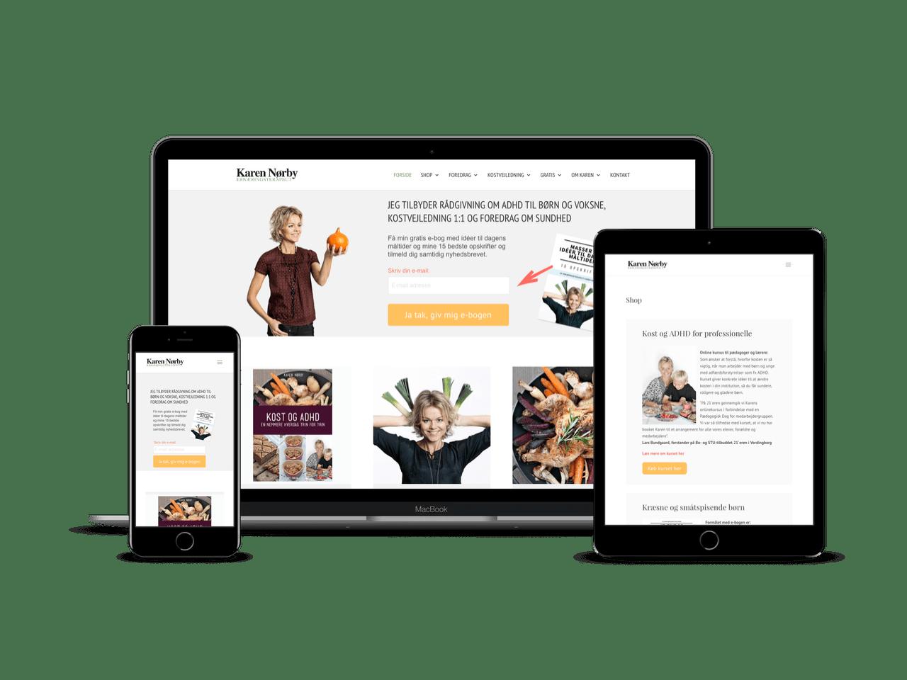 Nyt webdesign i Divi og WordPress til Karen Nørby