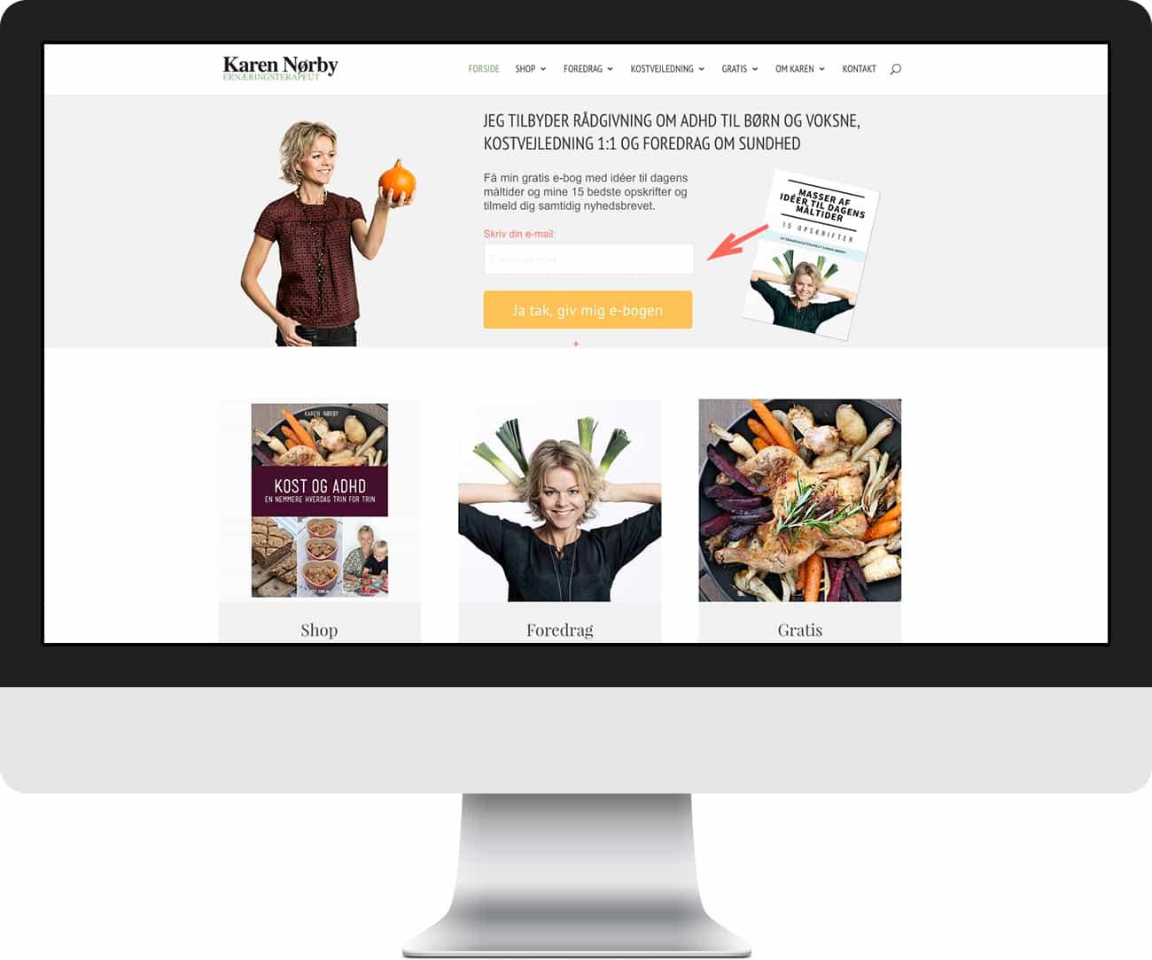 Hjemmeside til Karen Nørby med Divi tema - fra Feng Shui Webdesign
