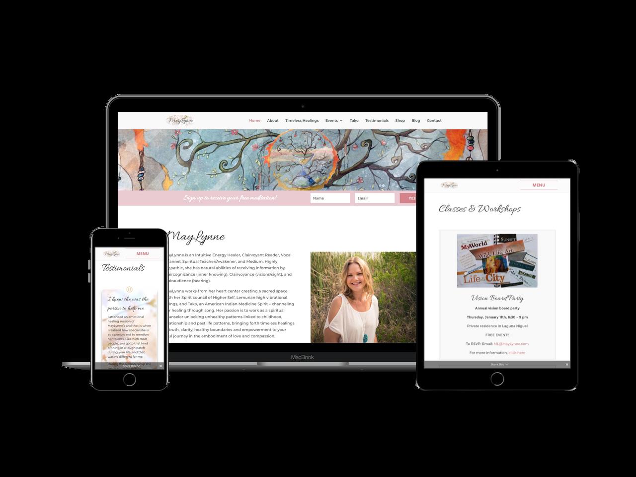 MayLynne.com - website design with Divi Child theme