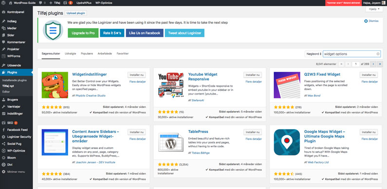 WordPress plugin installation - vælg plugin