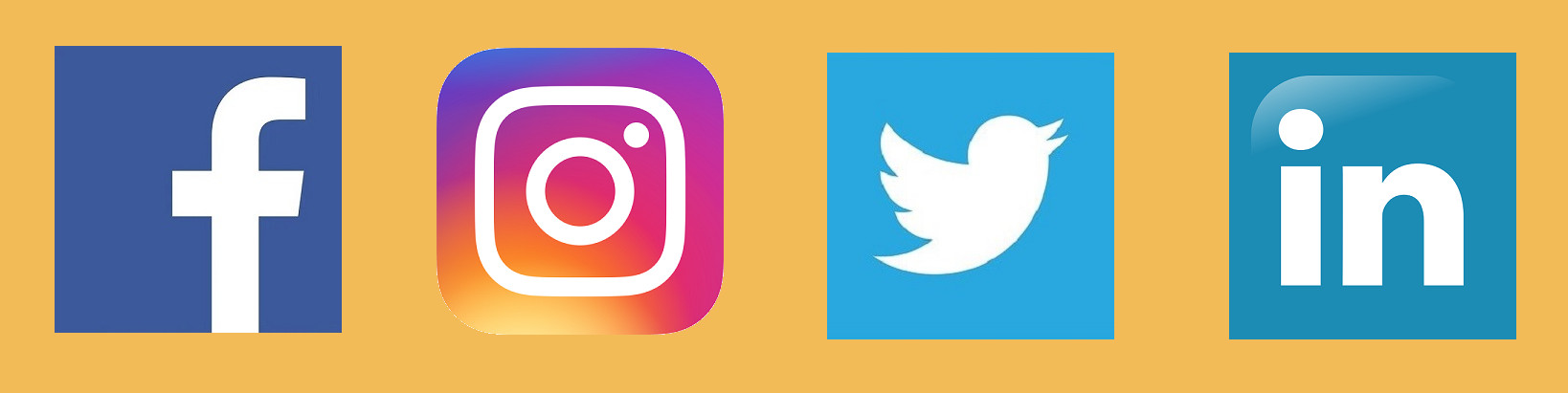 Facebook, Instagram, Twitter en Linked In logo's