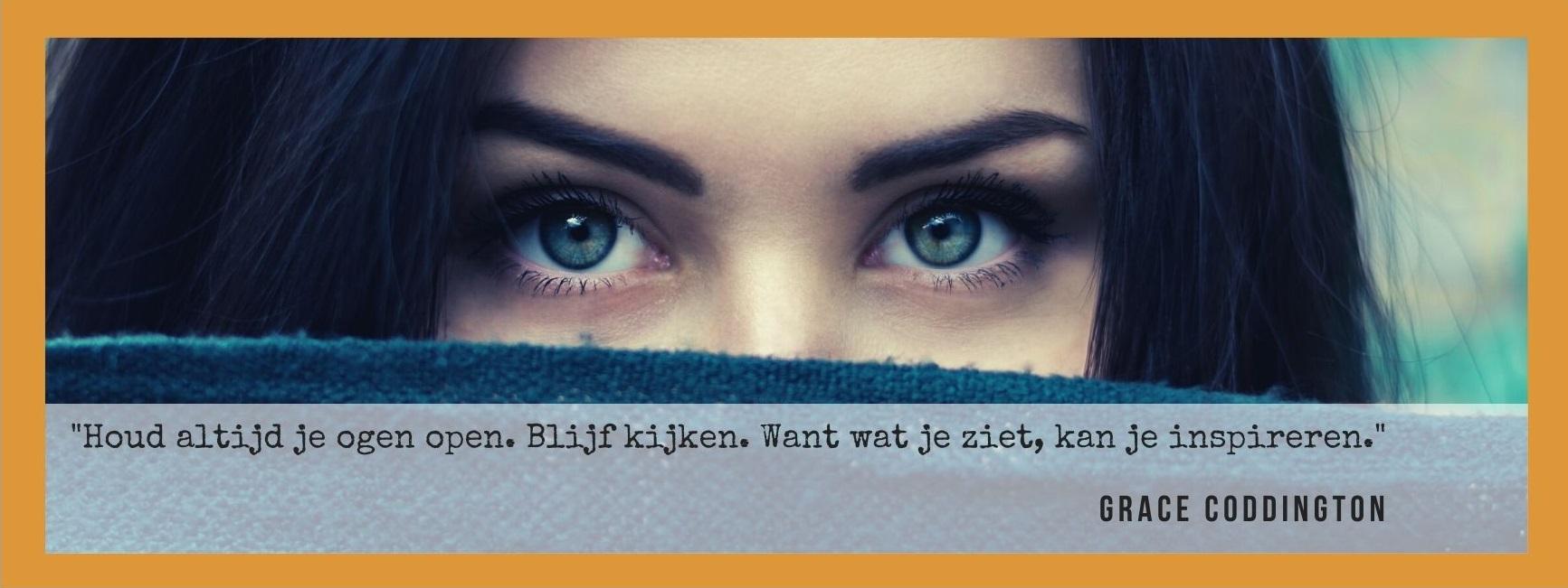 """""""Houd altijd je ogen open. Blijf kijken. Want wat je ziet, kan je inspireren."""" Quote van Grace Coddington."""