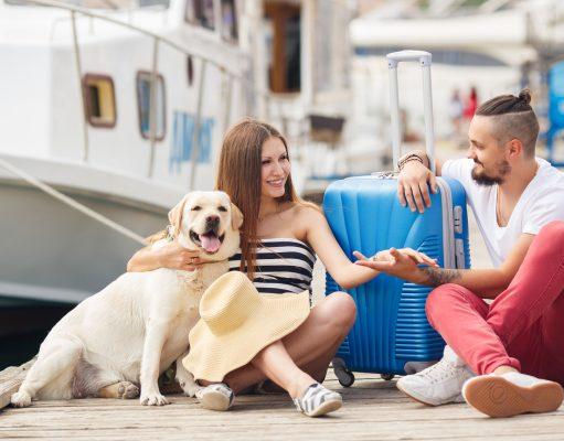 Ungt par med hund