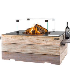 Happy cocooning cocoon table Rechthoek Nice&Nasty Teak Antraciet + Glazen ombouw + Side Table