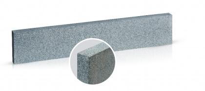 Boordsteen donker grijs graniet rondom gevlamd en geborsteld 3x35x100 cm