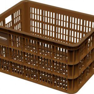 Basil fietskrat Crate L kunststof 50 liter bruin