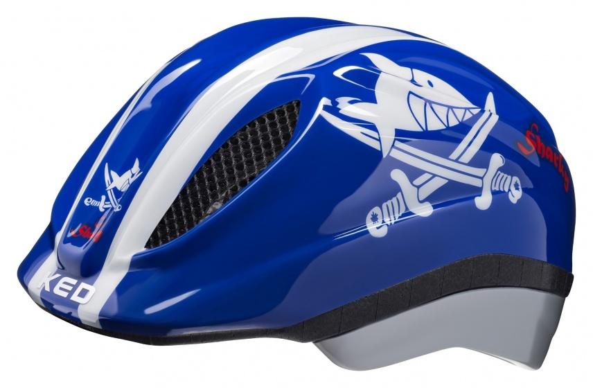 KED fietshelm Meggy Sharky jongens blauw/wit maat 44 49 cm