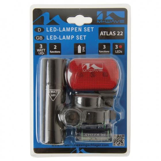 M Wave Batterij Lampen Set Atlas 22 Zwart