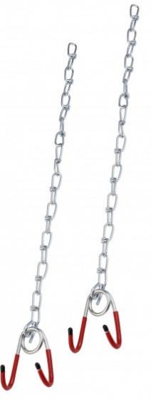 Simson ophangkettingen met haken rood/zilver 2 stuks