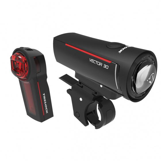 Trelock verlichtingsset Vector LS300 & LS740 30 lux zwart 2 delig