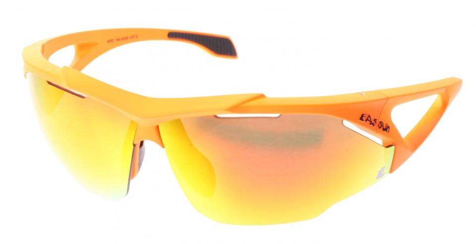 Eassun fietsbril Aero Montura oranje spiegelend rood glas