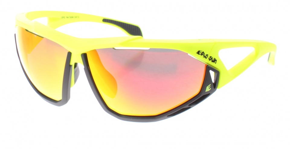 Eassun fietsbril Epic montuur zwart/geel revo lens rood
