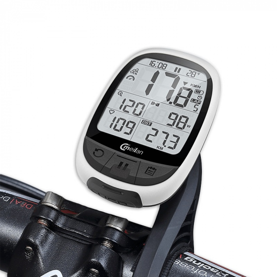 Meilan fietscomputer GPS M2 266 gram 2.4 inch wit/zwart