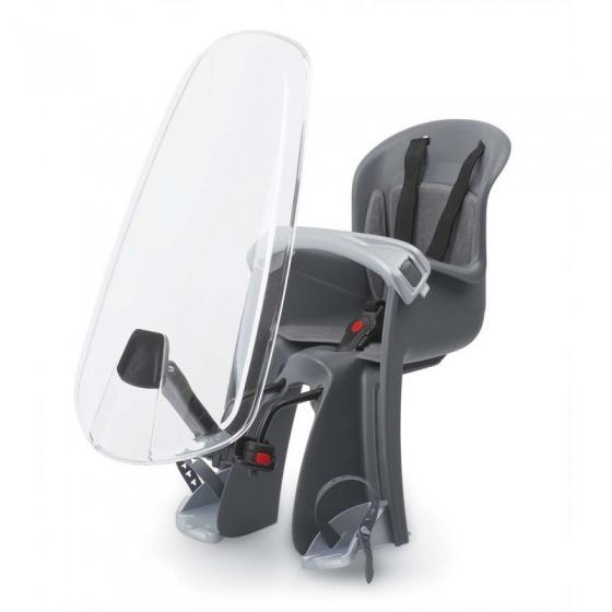 Polisport fietszitje voor Bilby junior met windscherm zwart/grijs