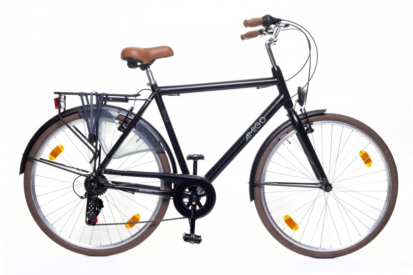 Amigo - Style 28 Inch 56 Cm Heren 6v V-brakes Matzwart