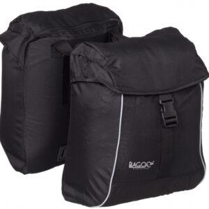 Bagoo dubbele fietstas 2 x 17 liter polyester zwart