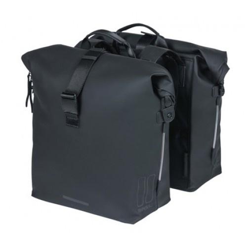 Basil fietstas dubbel SoHo Nordlicht 41 liter polyester zwart