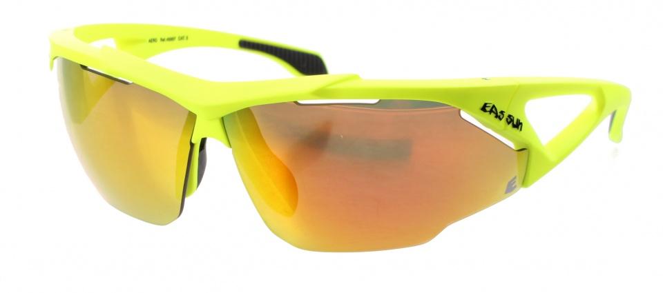 Eassun fietsbril Aero Montura geel spiegelend rood glas