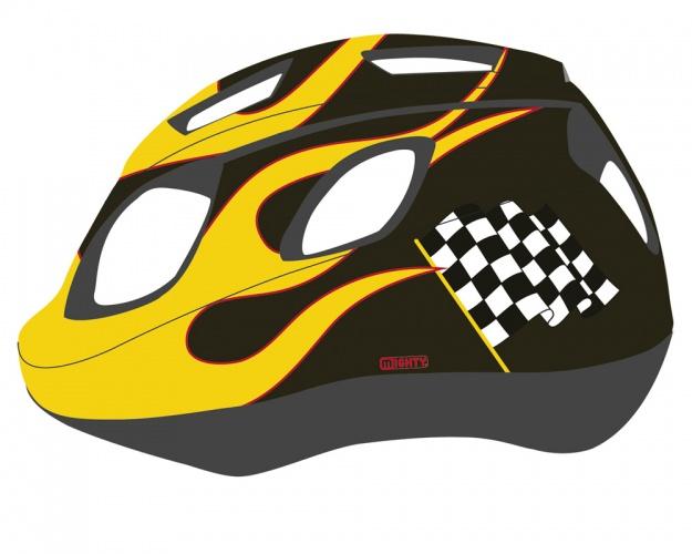 Mighty Helm Junior Race Zwart Geel Maat 48/54 cm