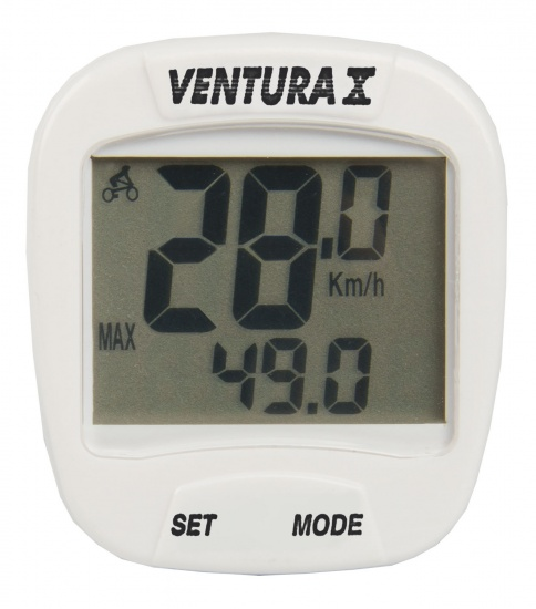 Ventura Fietscomputer X 10 Functies Bedraad Wit