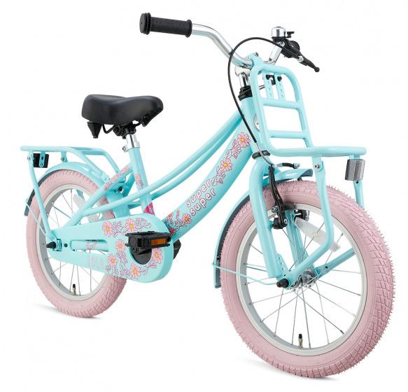 Supersuper Lola 16 Inch 25,4 cm Meisjes V Brakes Lichtblauw/Roze