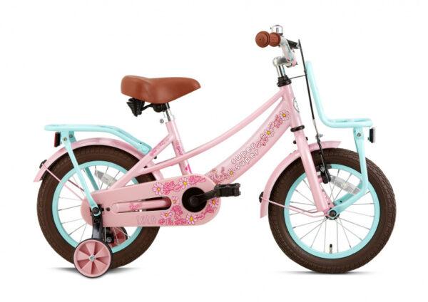 Supersuper Lola S 14 Inch 21,5 cm Meisjes V Brakes Roze/Turquoise Kinderfiets