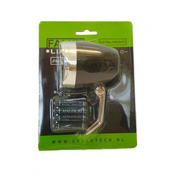 Falkx koplamp 60 mm batterijen led zwart