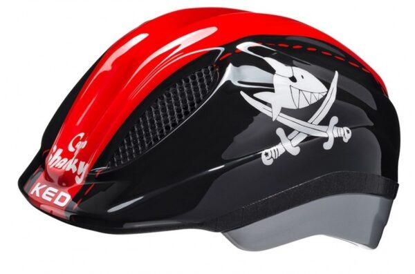 KED fietshelm Meggy Sharky jongens zwart/rood maat 49 55 cm
