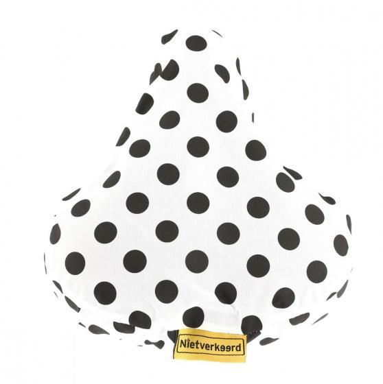 Niet Verkeerd zadeldek gestipt 17 x 25 cm polyester wit/zwart