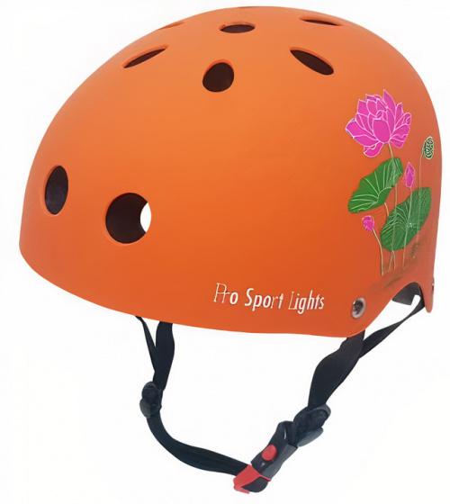 Pro Sport Lights fietshelm bloem junior polystyreen oranje maat M