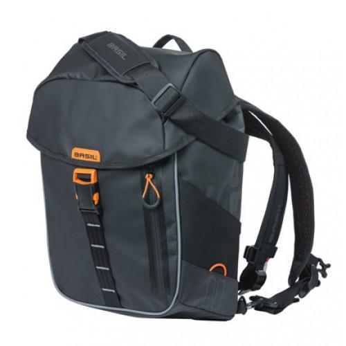 Basil fietsrugzak Miles 17 liter PVC zwart/oranje 18087