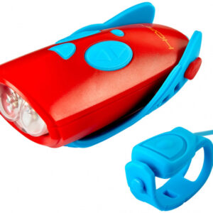 Hornit fietslicht Mini 9,8 x 4,4 cm aluminium rood/blauw