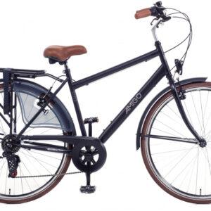 Amigo - Style-s7 28 Inch 56 Cm Heren 6v V-brakes Matzwart