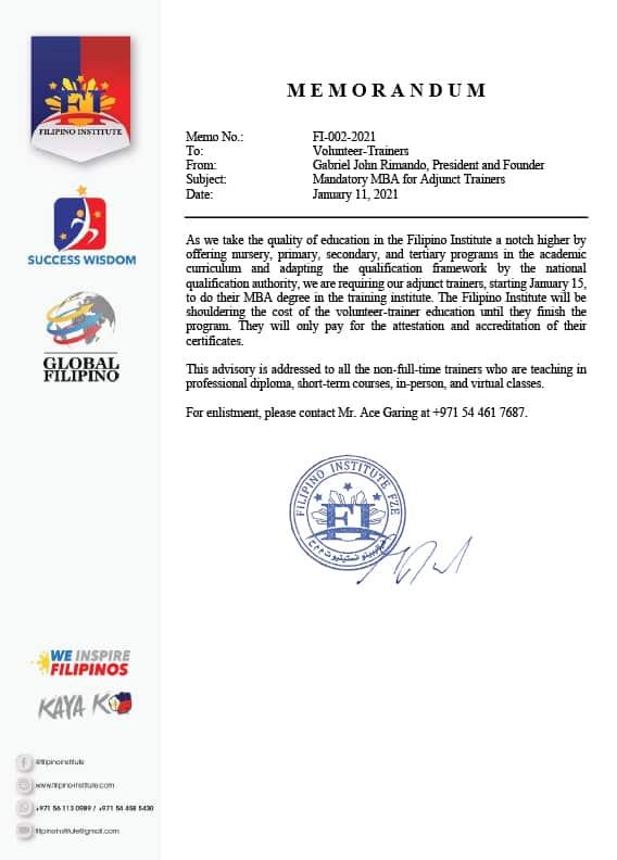 Subject : Mandatory MBA for Adjunct TrainersDate : January 11, 2021Memo No. : FI-002-2021