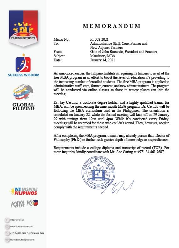 Subject : Mandatory MBADate : January 14, 2021Memo No. : FI-008-2021